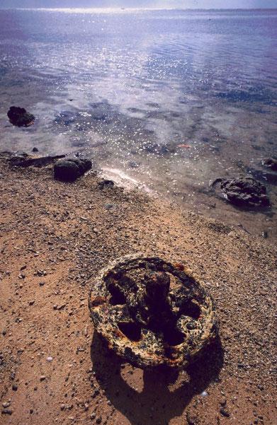 Part of a US Marine amphibious tractor juts above the rust-stained coral sand of Peleliu's beach.