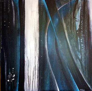 """""""Blue Ritournelle"""" toile réalisée avec Benoit GUERIN - 100X100 - 2013"""