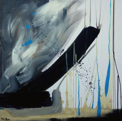 """""""les fleurs bleues"""" - toile réalisée avec Benoit GUERIN - 80X80 - 2013"""