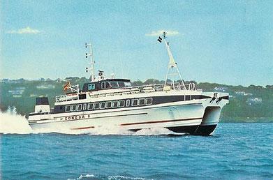 Carte postale du Condor 6, catamaran norvégien affrété en 1980 par Condor Limited pour service entre Saint-Malo et les îles Anglo-normandes.