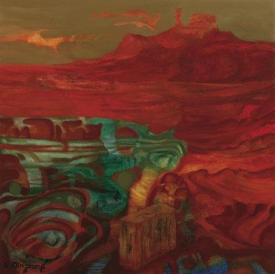 Maleta, escudo y ausencia de sus propietarios -60 x 60 cm - óleo/Dmp Guillermo R. Mingorance