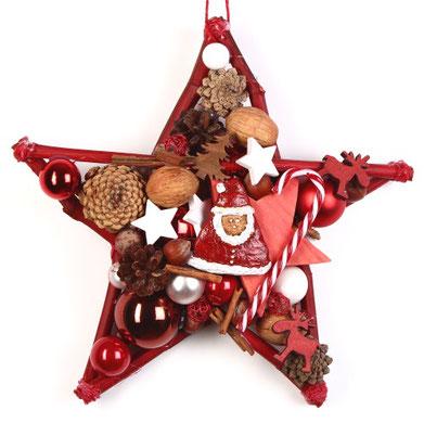 Stern in rot-weiß mit Weihnachtsmann und Zuckerstange.