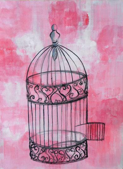 peinture porte cage ouverte, rose