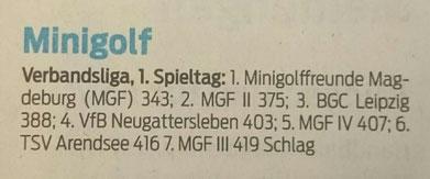 Saison 2016 1. Spieltag auf Filz in Leipzig