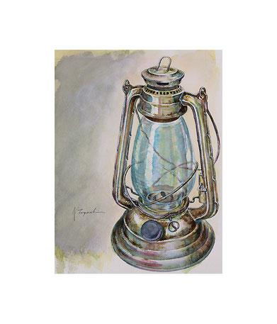 錆びたブリキのランプ(透明水彩)F0サイズ