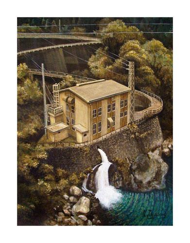 山間の小さな発電所(アクリル絵の具/キャンバス)P12号