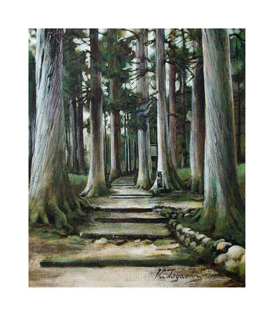 境内の杉木立(アクリル絵の具/キャンバス)F8号