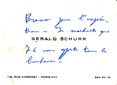 Félicitation de Gérald SHURR à SERVIN