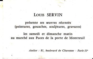 Annonce de la présentation des oeuvres de SERVIN aux puces de Montreuil