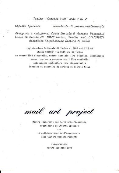 L'ours de la revue OFFERTA SPECIALE Octobre 1988