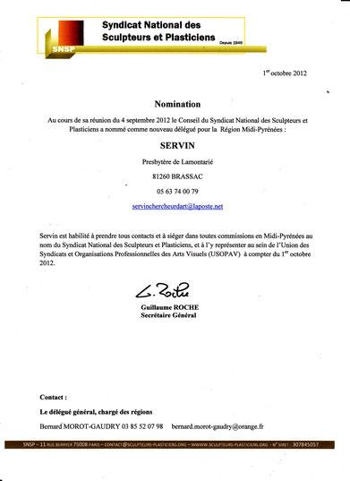 accréditation de SERVIN comme Délégué syndical pour la région Midi-Pyrénées