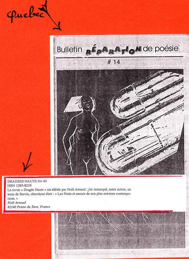 Réparation de Poésie N° 14: annonce de la publication d'un texte de SERVIN par Noël  ARNAUD  dans sa revue Dragée Haute