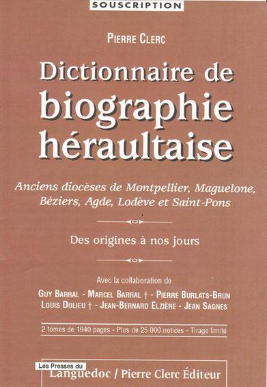 souscription poour le  DIctionnaire de biographie  héraultaise
