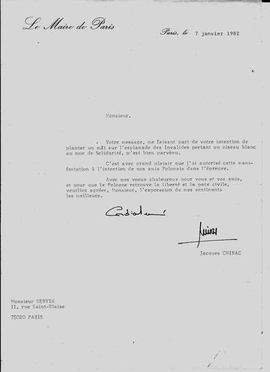 Lettre de Jacques CHIRAC à SERVIN