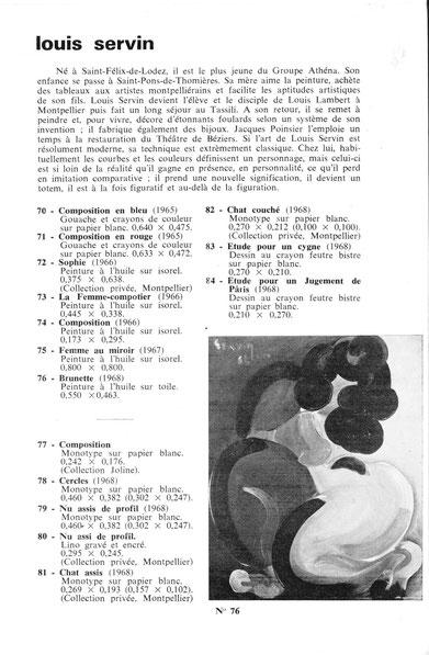 Catalogue expo Athéna Musée de Béziers 1971 notice de SERVIN
