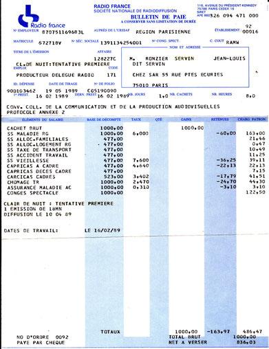 Bulletin de paye de SERVIN  par RADIO FRANCE