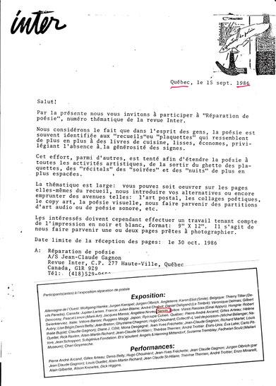 Autres documents d'invitation Réparation de Poésie