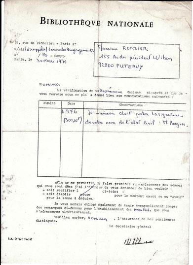 Document relatif au mémoire d'achat