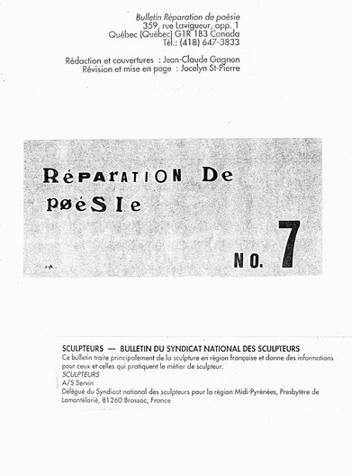 Réparation de Poésie signale l'existance d'un Syndicat des Sculpteurs en France  et de SERVIN comme délégué de Région