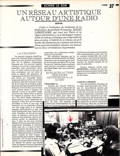 Darticle de SERVIN dans INTER Printemps 85ébut