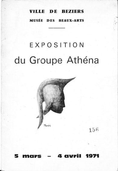 Couverture du catakogue expo Athéna Musée Béziers 1971