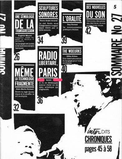 SOMMAIRE Revue INTER Printemps 85