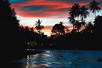 Sonnenuntergang auf einem Fluss. Im Hintergrund Palmen.