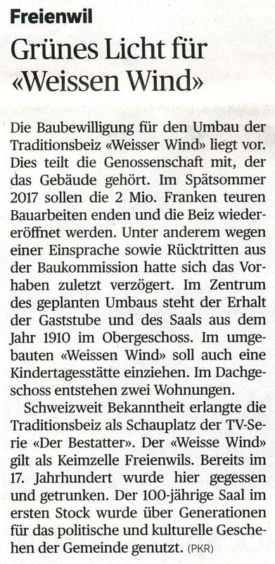 Badener Tagblatt, 11. Oktober 2016