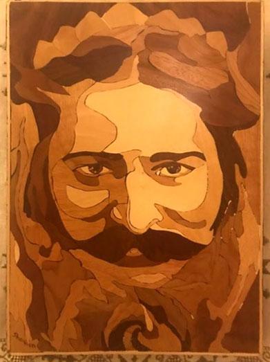 Timber inlay portrait of Meher Baba by Shaheen Khorsandi
