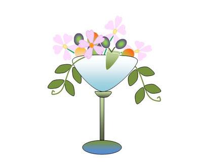 グラスに花