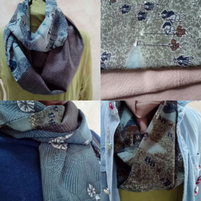 Reversible snood, modern couleurs combination.