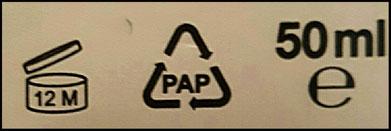 Pao, codice di riciclaggio e gli ml del contenuto del prodotto