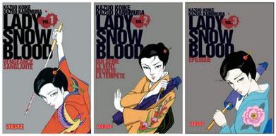 """Lady Snowblood"" de Koike et Kamimura Kazuo, éd. Kana 2007, 512 p. (3 tomes)"