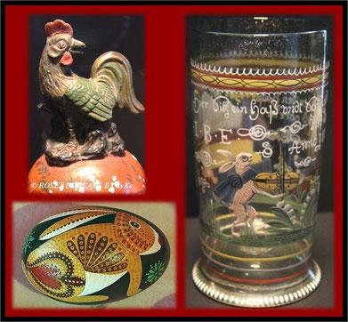 der Hase geigt auf einem alten Glas von 1683, das Huhn sitzt auf einer Deckelvase von 1720, der moderne Hase gehört zur Sammlung Naumann