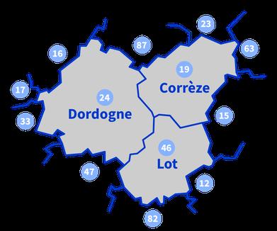 Carte de la zone géographique couverte par SAAD Intégr'à Dom