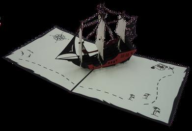 Carte Pop-Up Bateau pirate