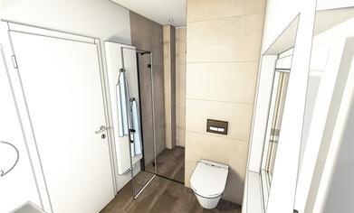 Ein Badezimmer mit Toilette als 3D-Rendering