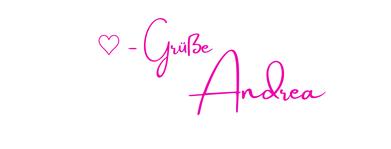 Unterschrift Herzensgrüße Andrea Trennungscoaching Herz statt Schmerz