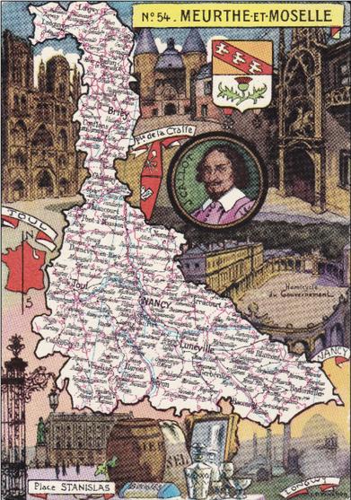 Recto d'une carte postale timbrée envoyée depuis la Meurthe-et-Moselle