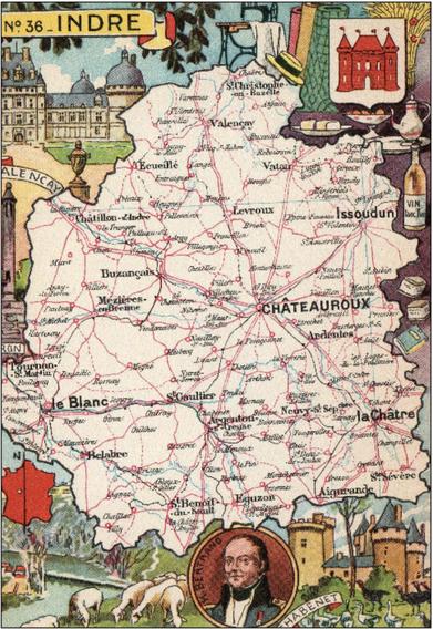 Recto d'une carte postale timbrée envoyée depuis l'Indre
