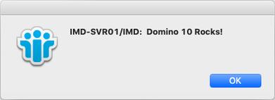 Meldung auf einem Notes 10 Client unter macOS