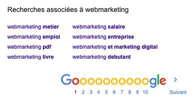 Trouver des long tail pour le mot clé SEO webmarketing à l'aide de Google