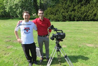 Roy Gündel (rechts) mit Artur Stark bei Filmaufnahmen.