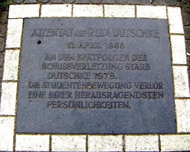 Mindetavl for Rudi Dutschke i Berlin-Wilmersdorf