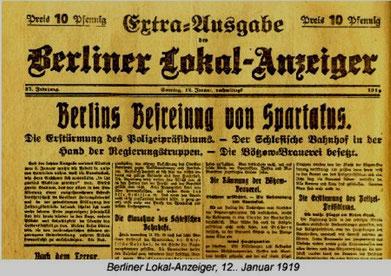 """Overskriften i det socialdemokratisk orienterede dagblad Berliner Lokal Anzeiger: """"Berlins befrielse fra Spartakus"""""""
