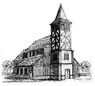 Castle Bromwich church in 1717 (conjectural)
