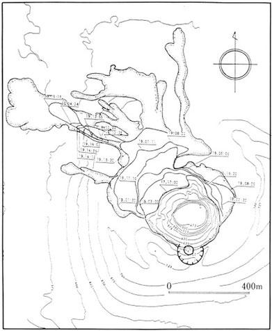 山頂噴火による熔岩流の流下過程の図