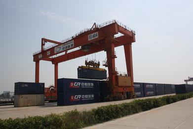 Loading of TEU at Zhengzhou rail-freight terminal