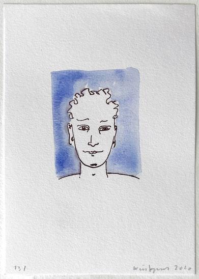 Als Trostpflaster für ausgefallene Treffen erhielten alle TeilnehmerInnen, die zum Malen und Zeichnen in den Malkasten Warendorf kommen, ein kleines Geschenk, ein Portrait des Künstlers in jungen Jahren.