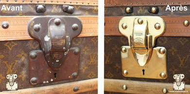 before after restoration vuitton trunk polished shiny brass